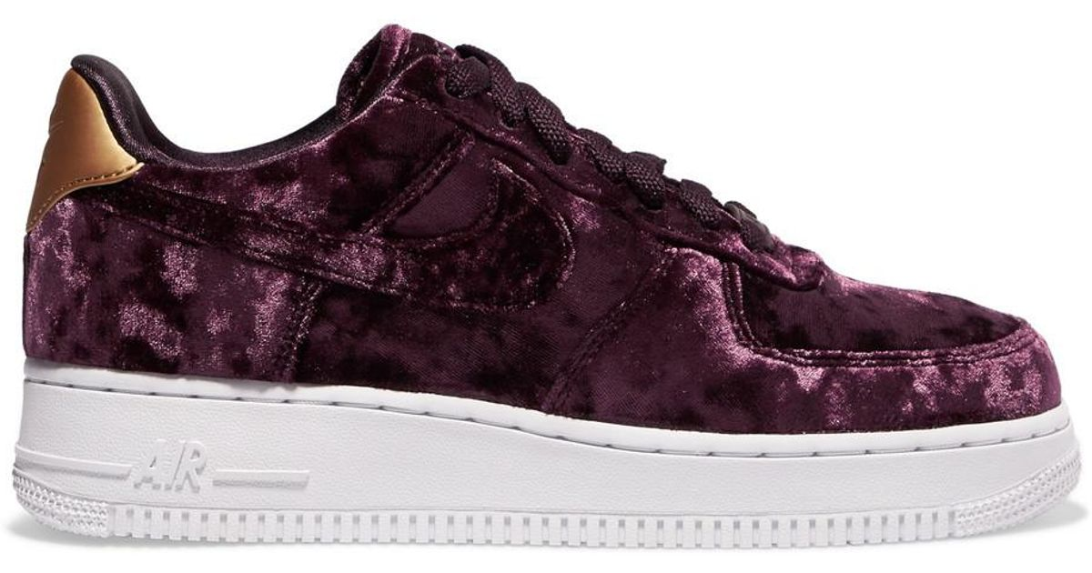 size 40 a8b19 9091d Nike Air Force 1 Metallic Faux Leather-trimmed Crushed-velvet Sneakers in  Purple - Lyst