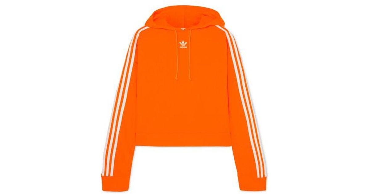 Adidas Originals Orange Cropped Striped Cotton jersey Hoodie