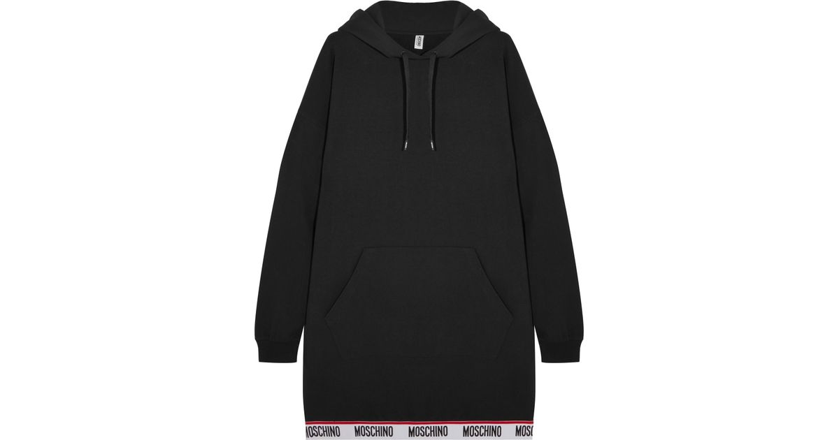 Moschino Hooded Cotton-blend Fleece Mini Dress in Black - Lyst