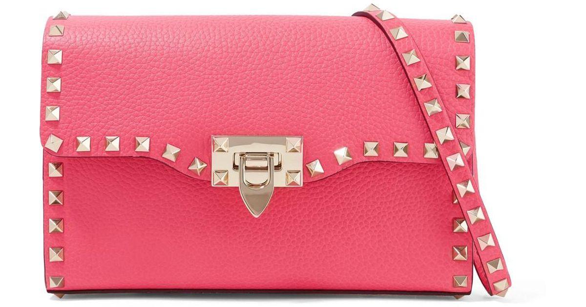 a4c40e5a3bec Valentino - Pink Rockstud Textured-leather Shoulder Bag - Lyst