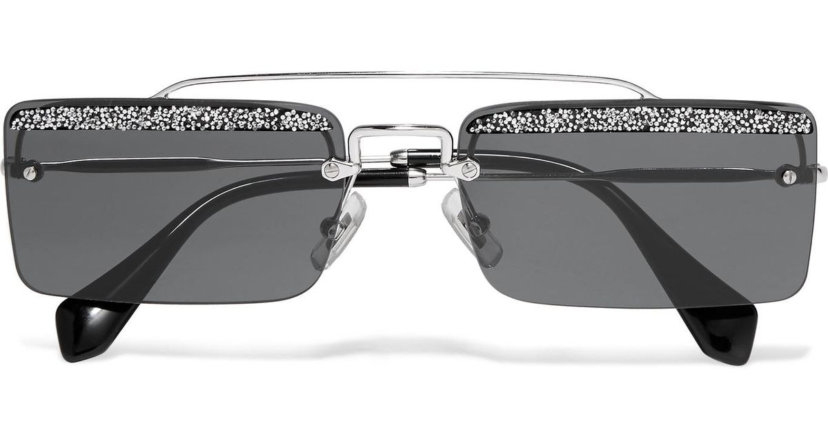 7c0652783e01 Miu Miu Crystal-embellished Square-frame Silver-tone And Acetate Sunglasses  in Gray - Lyst