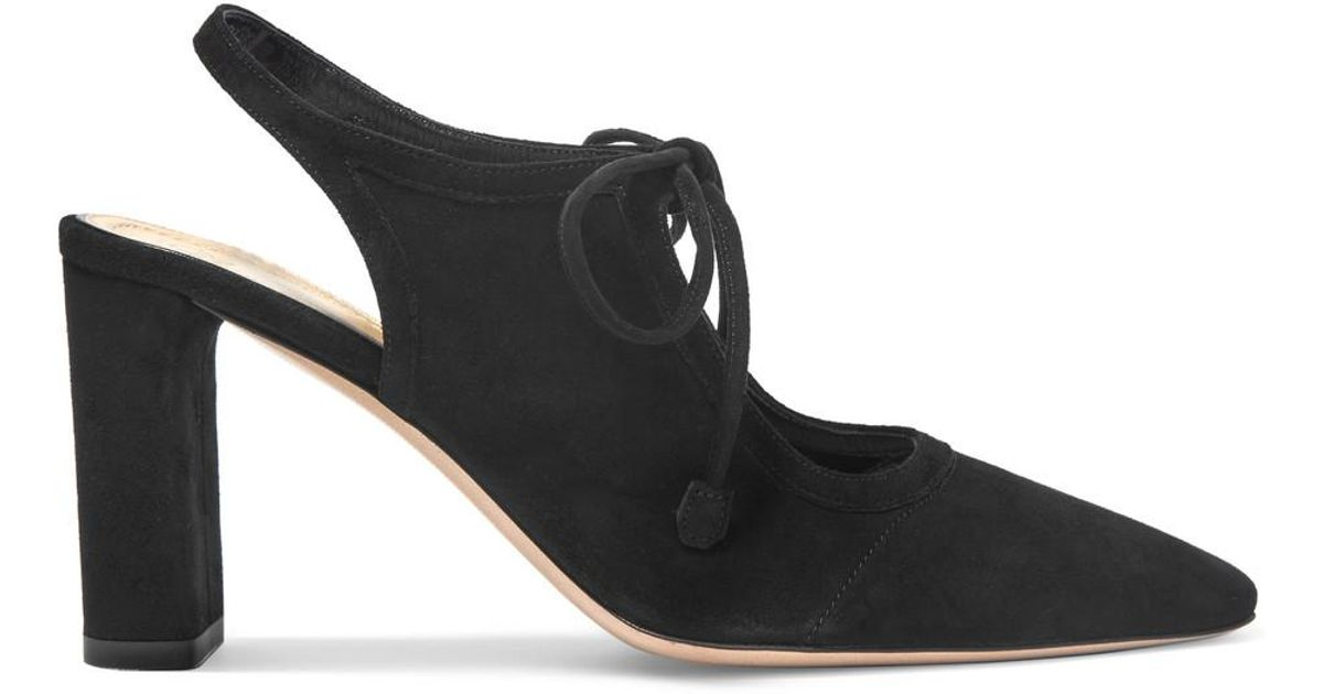 2af12d1090b Lyst - The Row Camil Cutout Suede Pumps in Black