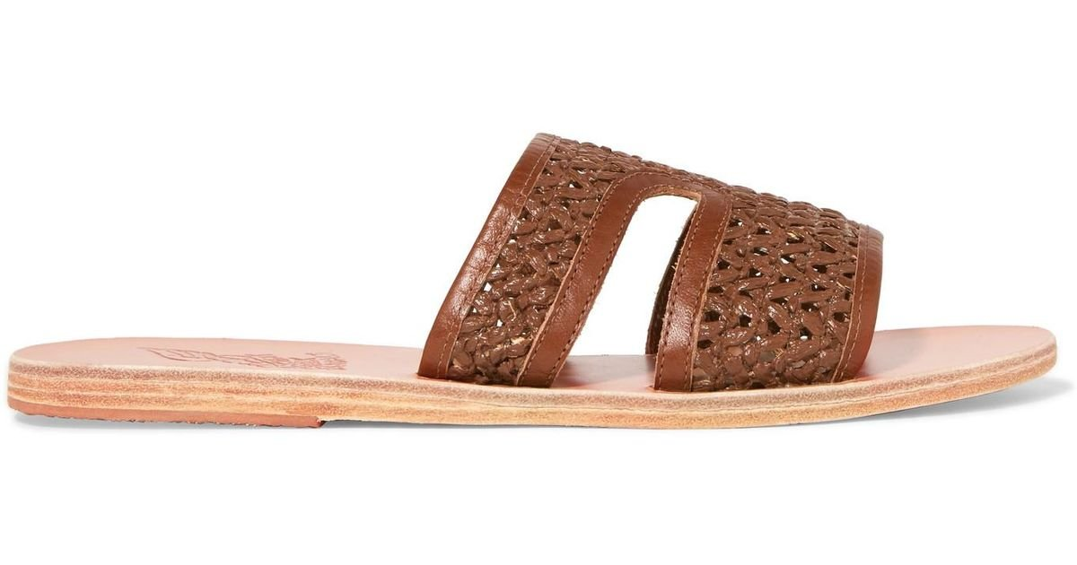 8af50b95279 Lyst - Ancient Greek Sandals Apteros Woven Raffia And Leather Slides in  Brown