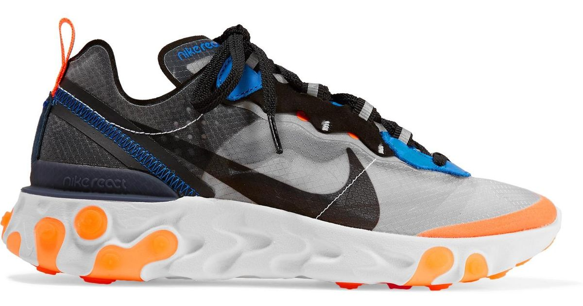 8265d2b78260 Lyst - Nike React Element 87 Microsuede-trimmed Ripstop Sneakers in Gray