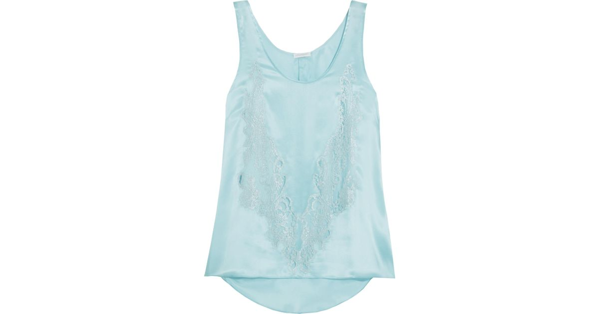 Cosmic Love Chantilly Lace-paneled Silk-satin Camisole - Sky blue Rosamosario Cheap Outlet Locations With Credit Card Cheap Online NyGyViC1w9