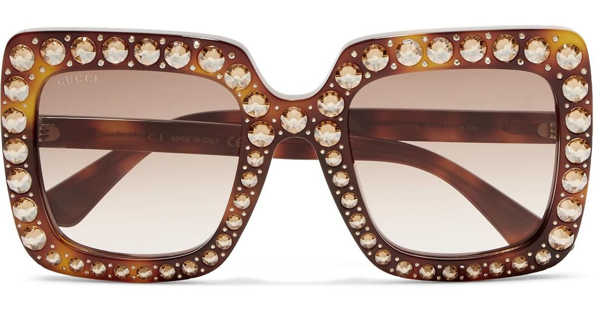9eb1a4557a Gucci Oversized Crystal-embellished Square-frame Tortoiseshell Acetate  Sunglasses in Brown - Lyst