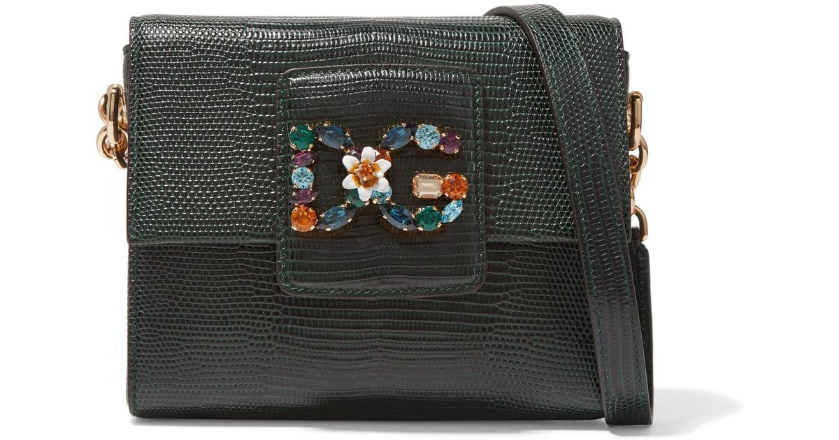 Lyst - Dolce   Gabbana Millennials Embellished Lizard-effect Leather  Shoulder Bag in Green 11599ccc97