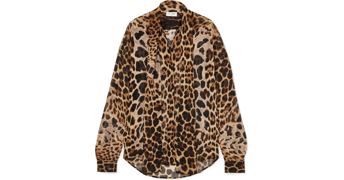 2247067e40dd4 Saint Laurent Pussy-bow Leopard-print Silk-georgette Blouse in Brown - Lyst