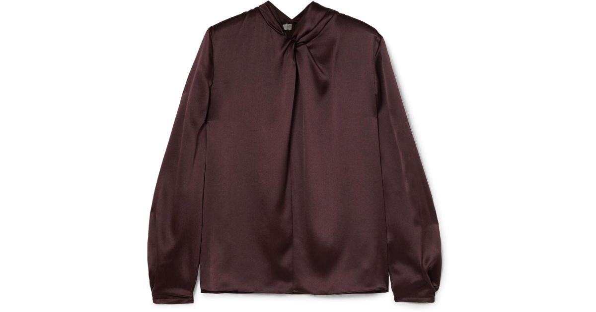 9242927b4d15c3 Lyst - Vince Knotted Silk-satin Blouse in Brown