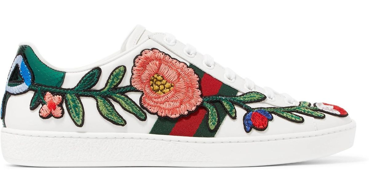 d03ce19c6ff Gucci Ace Watersnake-trimmed Appliquéd Leather Sneakers in White - Lyst
