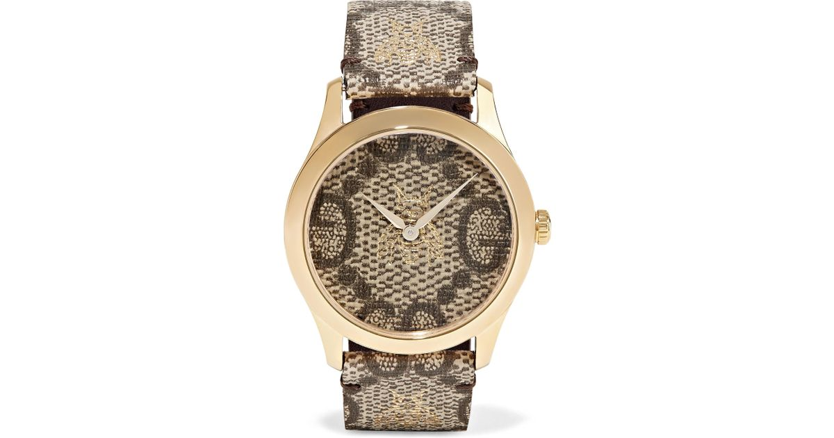 8c9ff5d1581 Lyst - Gucci Printed Coated-canvas And Gold-tone Watch in Brown