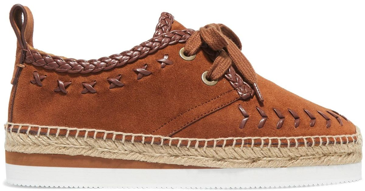 5c55c58c83 See By Chloé Leather-trimmed Suede Epsadrille Sneakers Light Brown in Brown  - Lyst