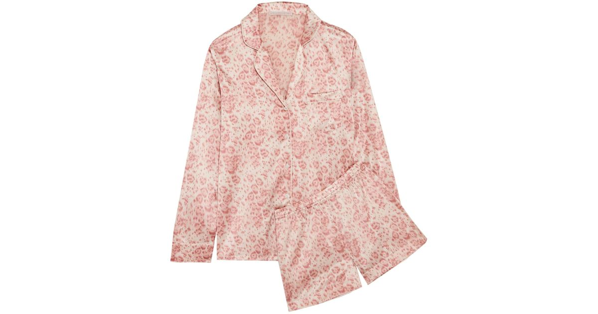 Lyst - Stella McCartney Poppy Snoozing Leopard-print Stretch-silk Satin  Pajama Set in Pink fc56b148a