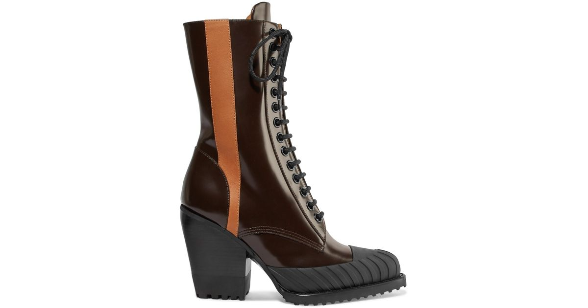 db9a8fcd521 Lyst - Chloé Rylee Two-tone Glossed-leather Ankle Boots in Brown
