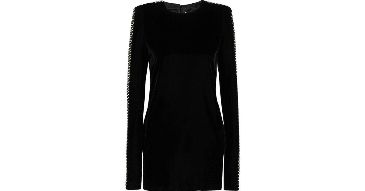 5c122dea30d6 Saint Laurent Crystal-embellished Velvet Mini Dress in Black - Lyst