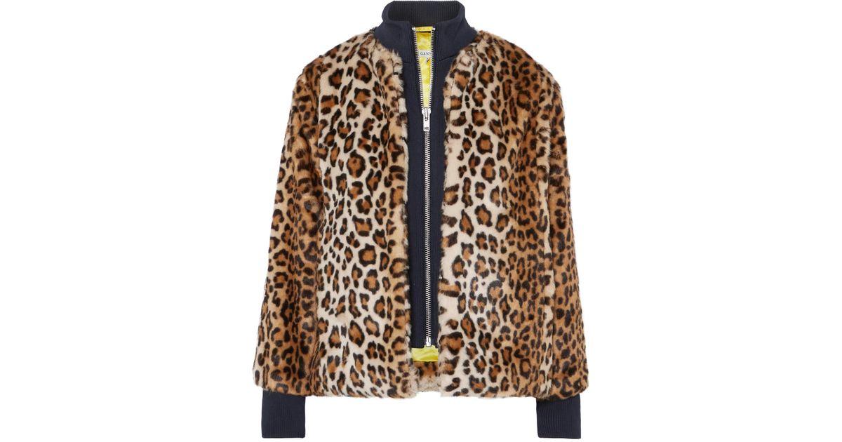 5de1458e66a Ganni Ferris Leopard Print Faux Fur Bomber Jacket - Lyst
