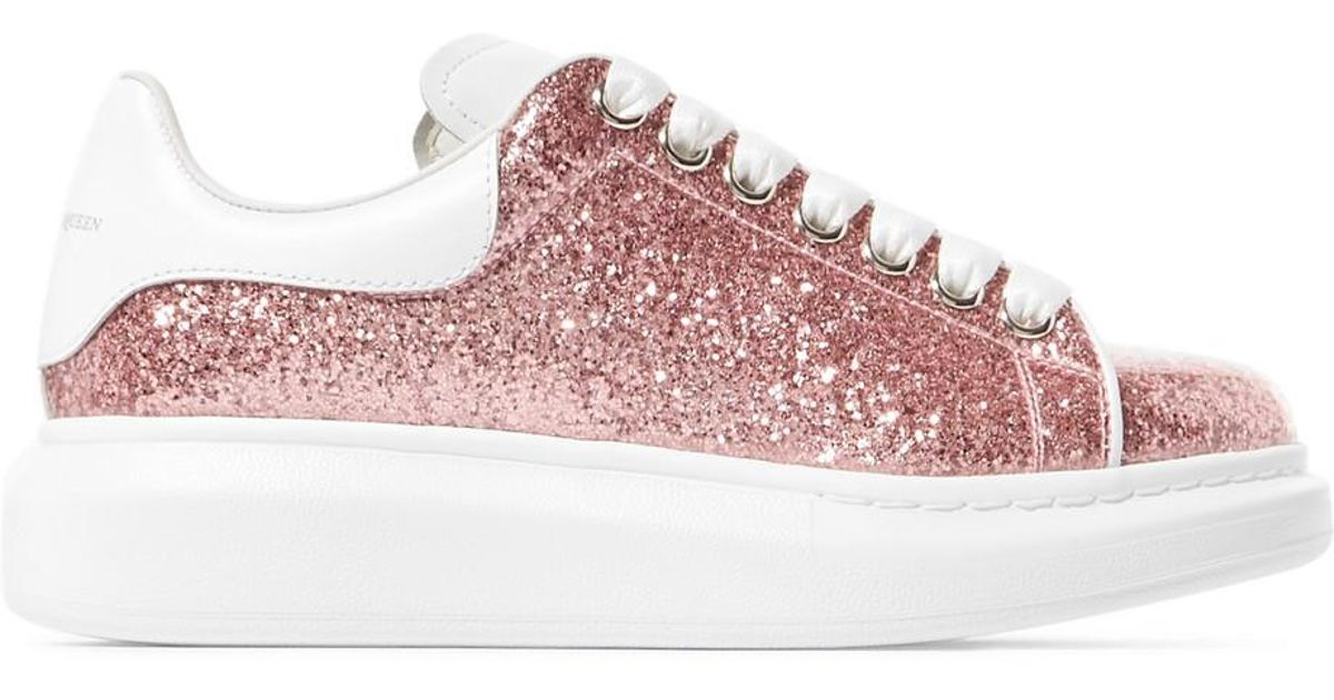 Lyst - Alexander McQueen Glittered Leather Exaggerated-sole Sneakers in Pink bdea92c49f80