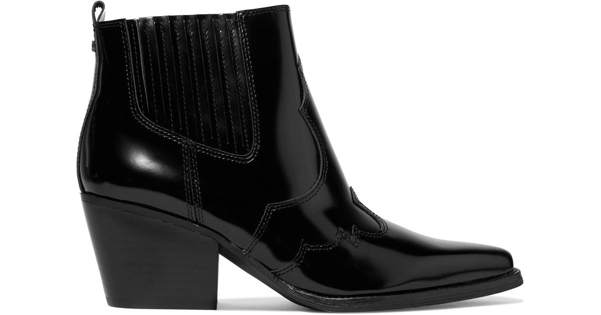 536959c9fea21 Lyst - Sam Edelman Winona Glossed-leather Ankle Boots in Black - Save 30%