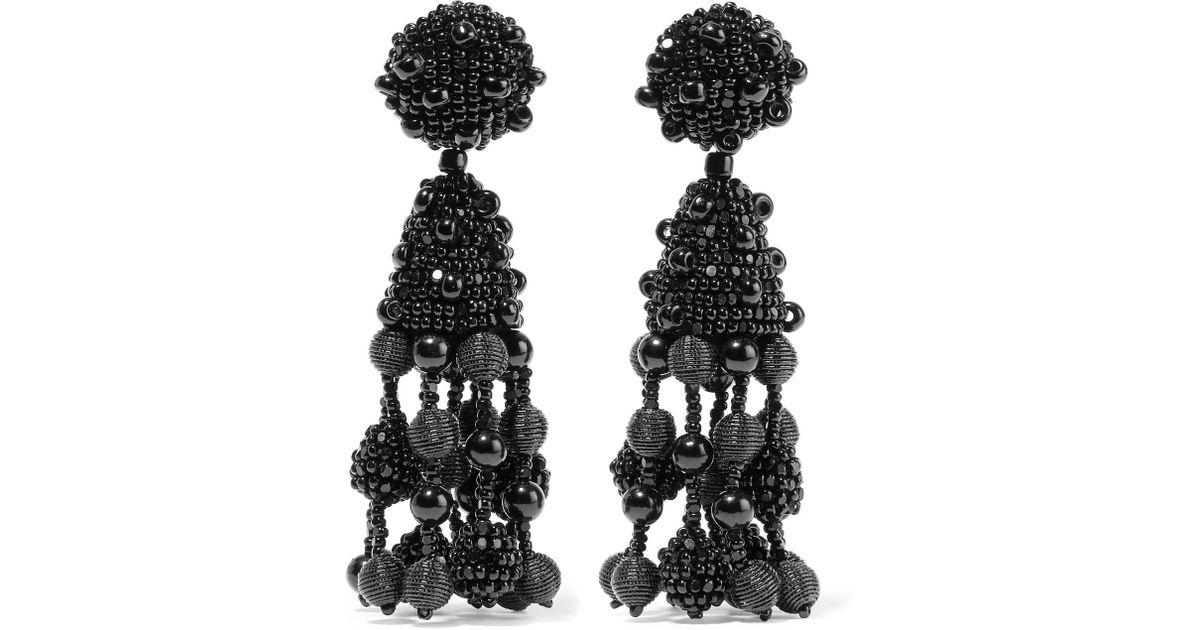 Falling Tassel Beaded Silk Clip Earrings - Black Oscar De La Renta Oq71i