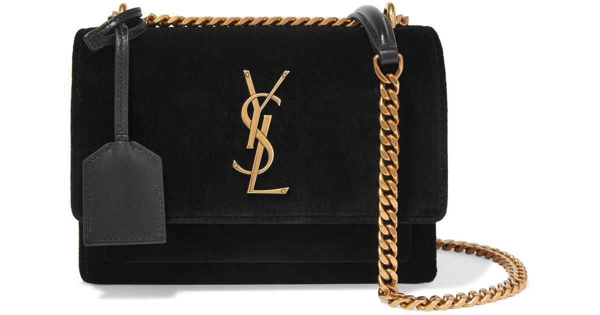 Lyst - Saint Laurent Sunset Small Velvet And Leather Shoulder Bag in Black c572923867b0e