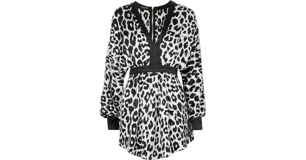 Lyst - Balmain Leopard-print Silk-satin Mini Dress in Black 39c9b06e0