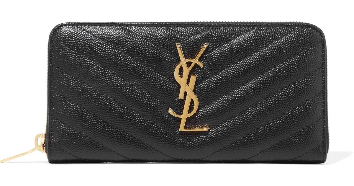Quilted Textured-leather Wallet - Black Saint Laurent T6gSSN