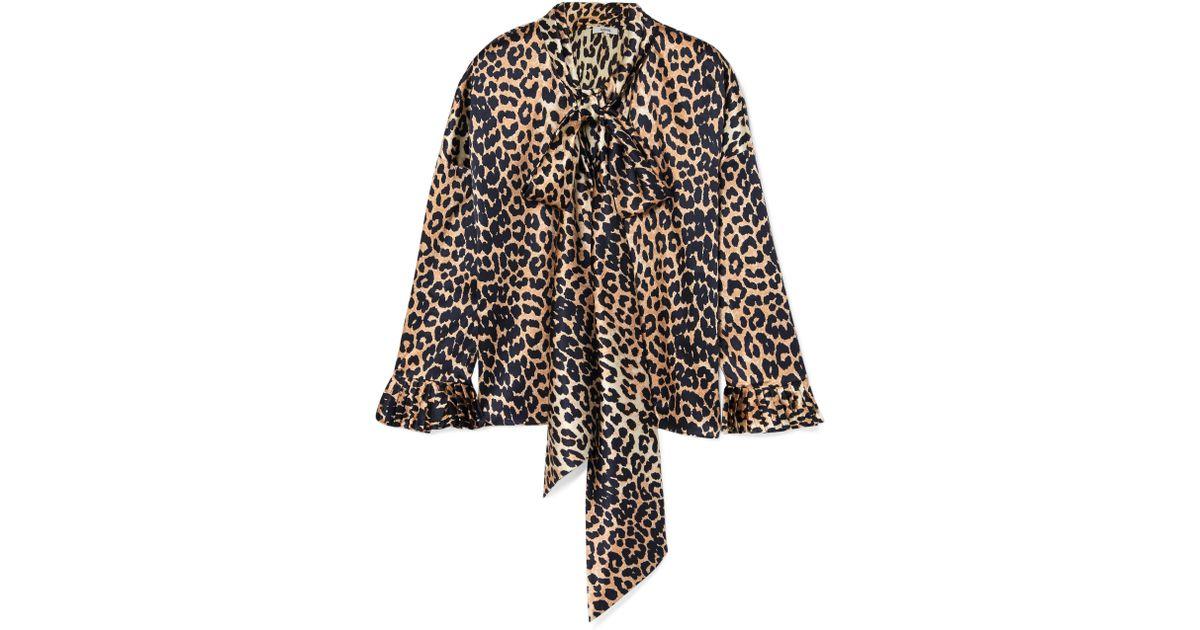 7d6b6db95ad804 Ganni Black And Brown Calla Stretch-silk Blouse in Black - Save 8% - Lyst