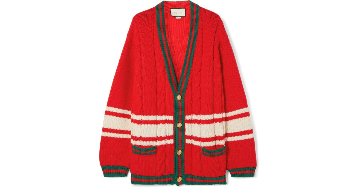 27b6b68521e Gucci + Chateau Marmont Embroidered Striped Cable-knit Wool Cardigan in Red  - Lyst