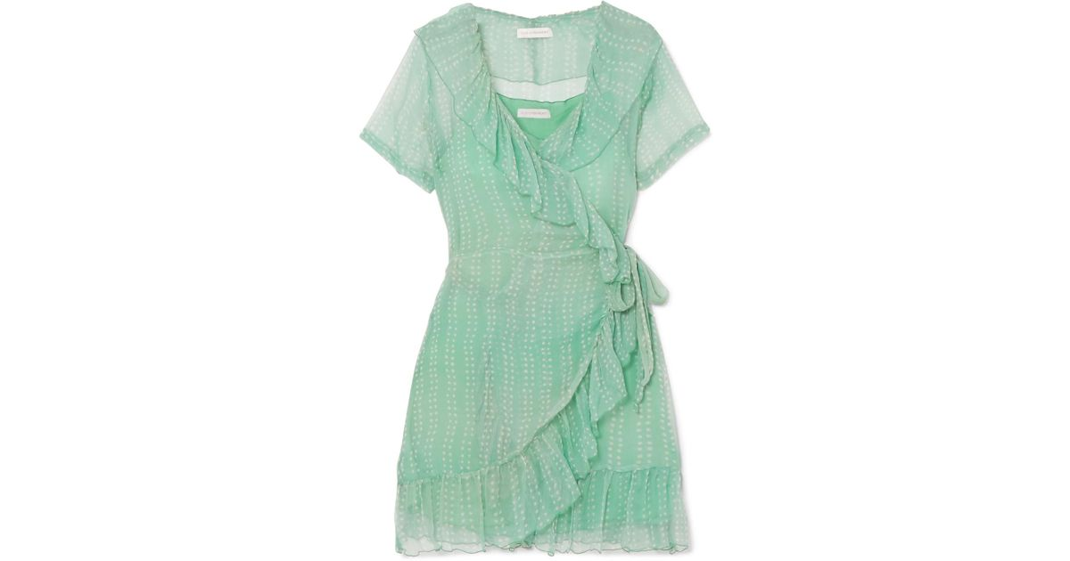 Kimi Printed Silk-crepon Wrap Mini Dress - Mint Cloe Cassandro Clearance Real Buy Cheap Pay With Visa Where Can You Find hfeFOfB0i