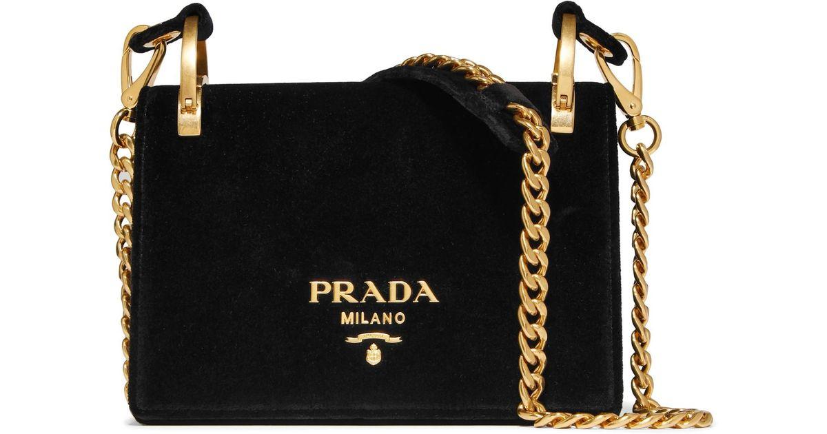 31f50c7884bffc Prada Pionnière Velvet Shoulder Bag in Black - Lyst