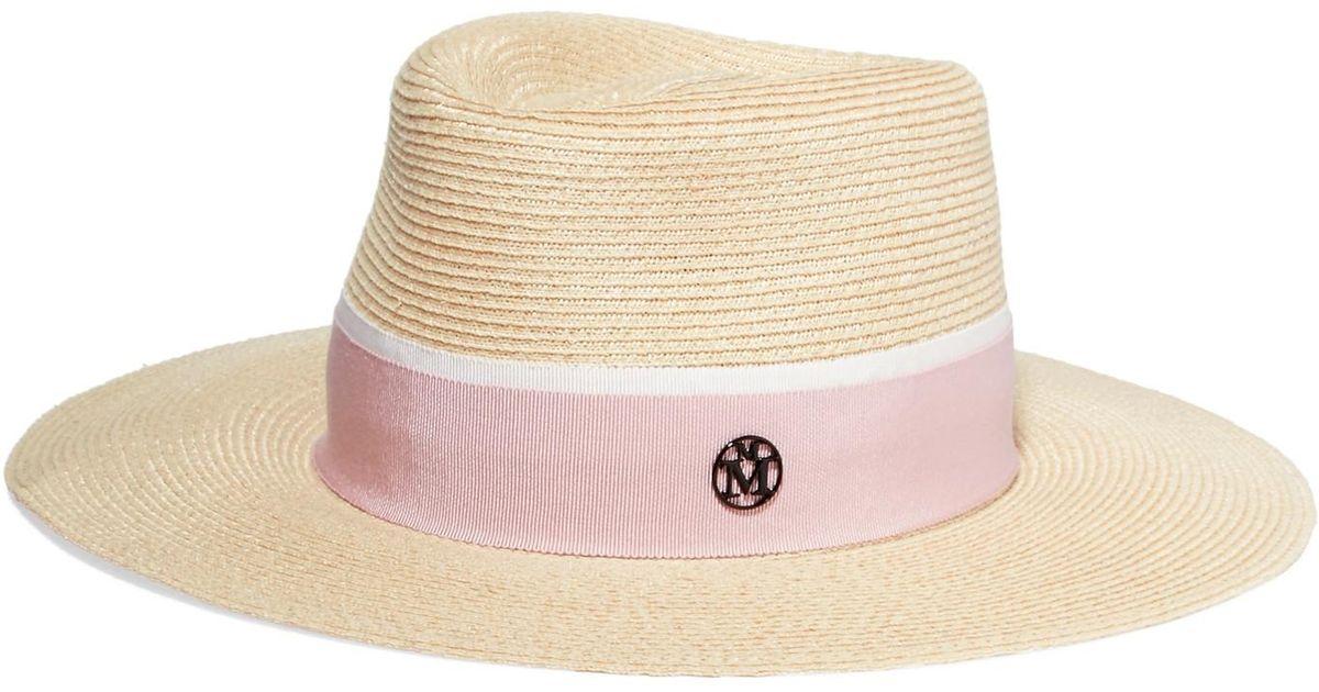 Lyst - Maison Michel Charles Grosgrain-trimmed Woven Hemp-blend Fedora in  Pink 26dc0d660e3
