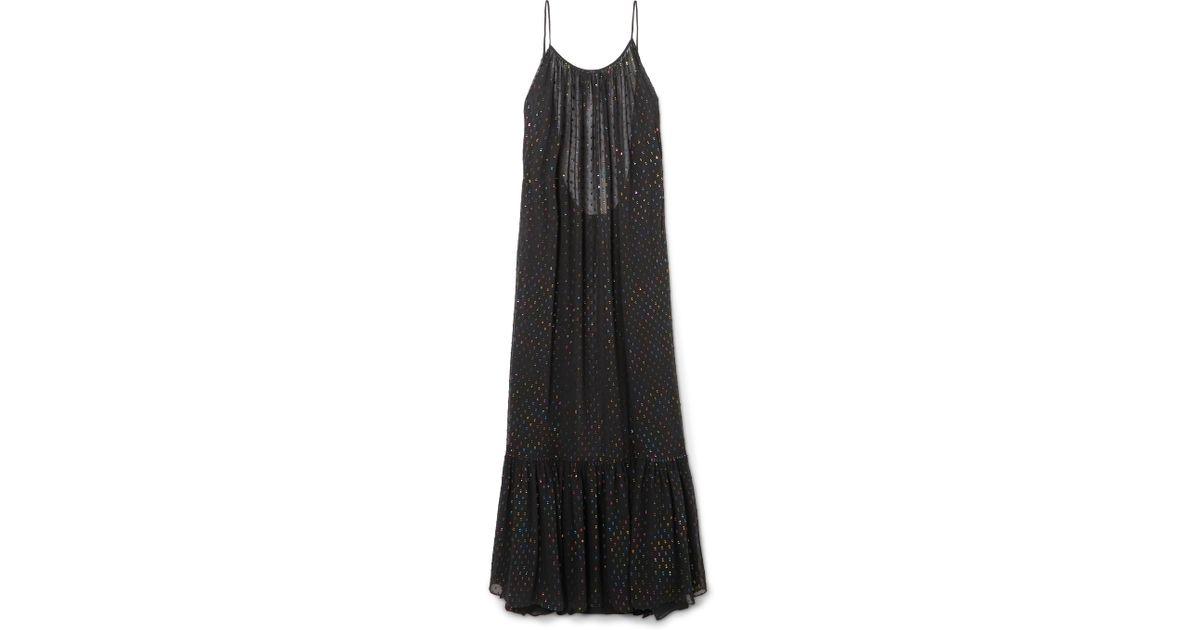 Caroline Constas Black Lola Open Back Metallic Fil Coupe Chiffon Maxi Dress Lyst