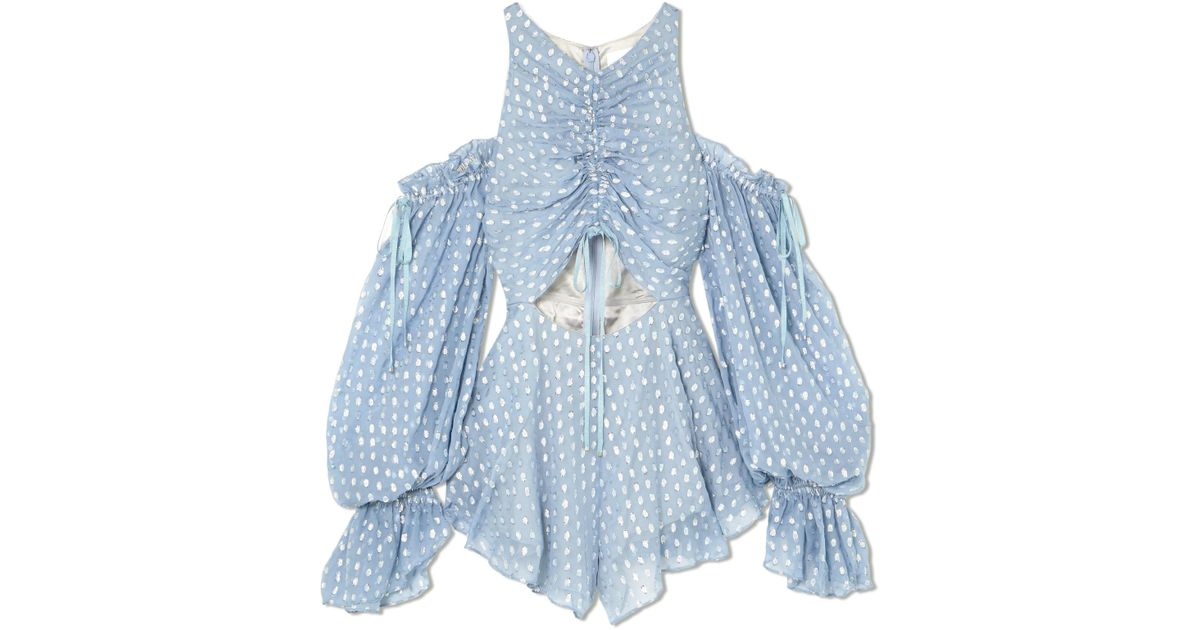 48d214543c7 Alice McCALL Did It Again Cold-shoulder Gathered Fil Coupé Georgette  Playsuit in Blue - Lyst