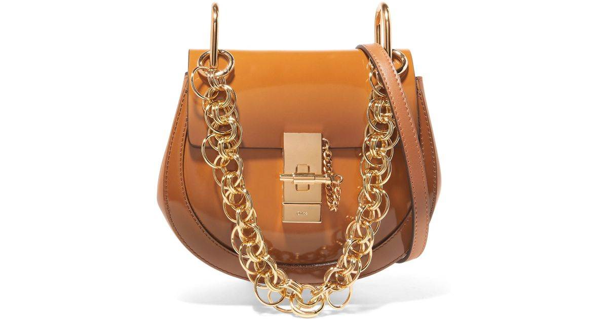 Drew Bijou Mini Glossed-leather Shoulder Bag - Brown Chloé ysHQJTRc