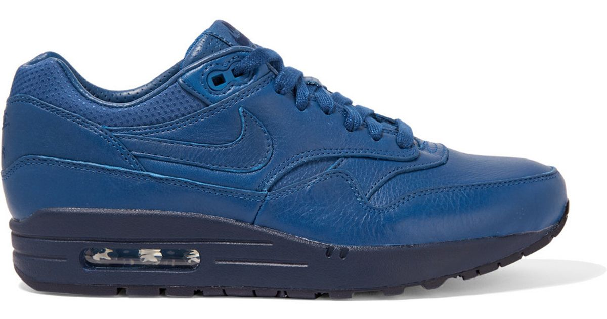 nike air max 1 leather sneakers in blue for