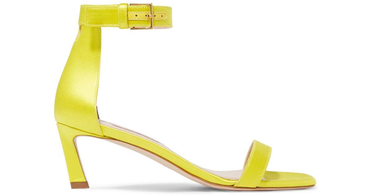 Squarenudist Satin Sandals - Yellow Stuart Weitzman kzpYxMr