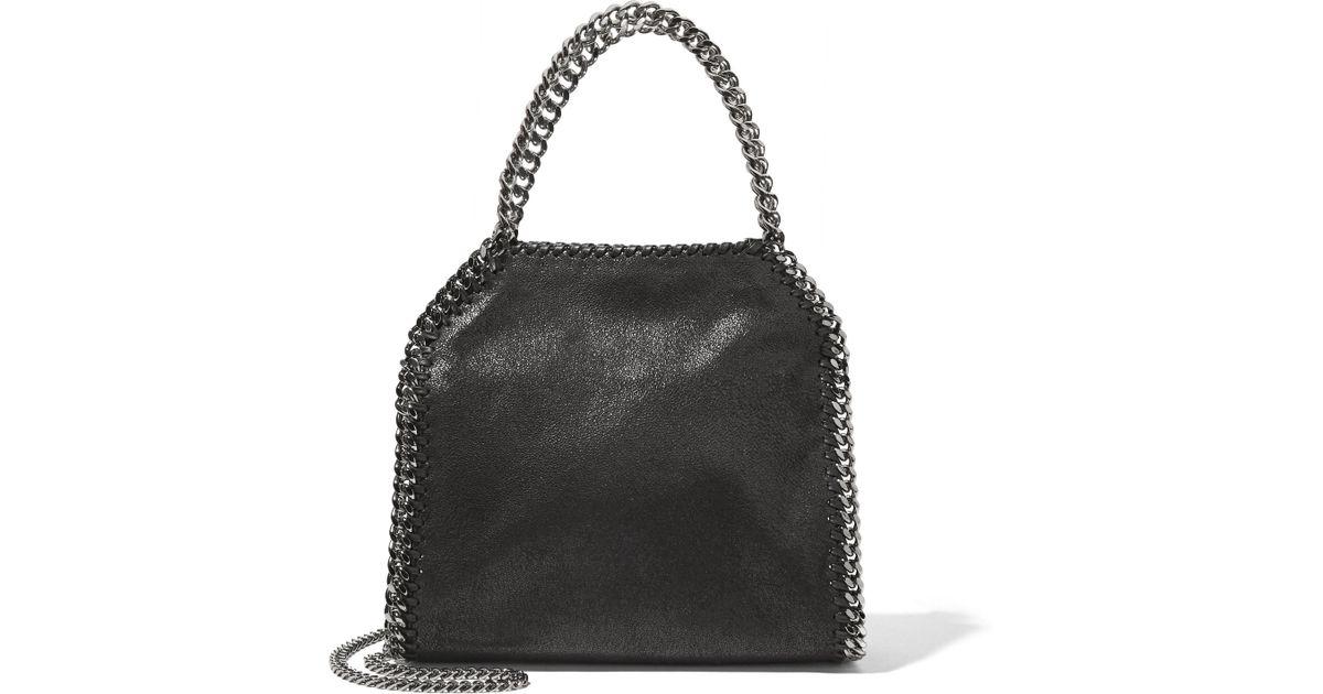 579e2823c9 Lyst - Stella Mccartney The Falabella Mini Faux Brushed-leather Shoulder Bag  in Black