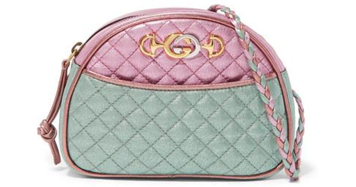 a4224587631dca Gucci Pink And Blue Laminated Leather Mini Bag in Pink - Save 38% - Lyst