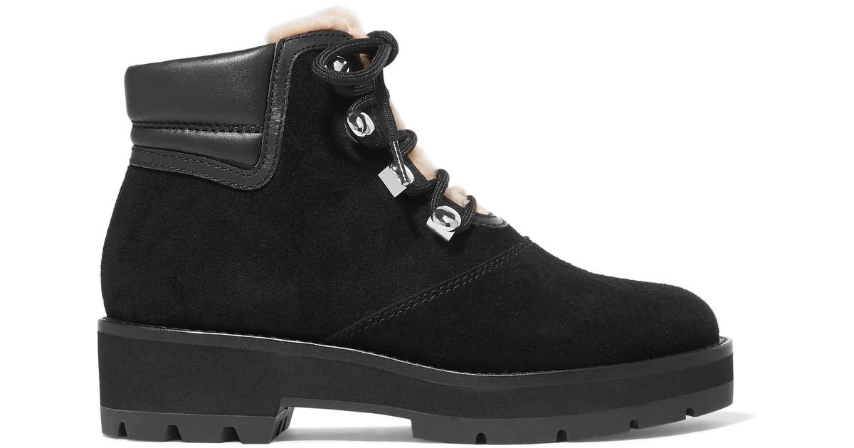 a82f25835c225 Lyst - 3.1 Phillip Lim Dylan Shearling-lined Suede And Leather Ankle Boots  in Black