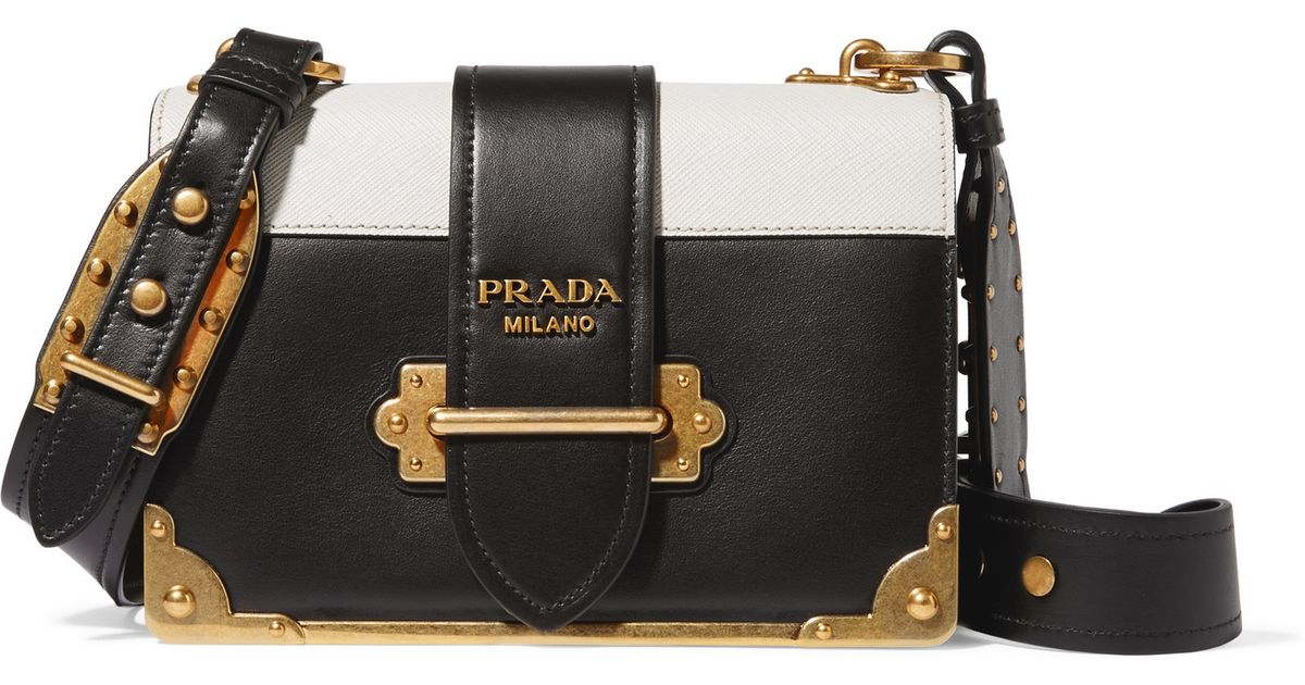 74db2f1850fbaa ... get lyst prada cahier two tone leather shoulder bag in black 4d5f6 53255