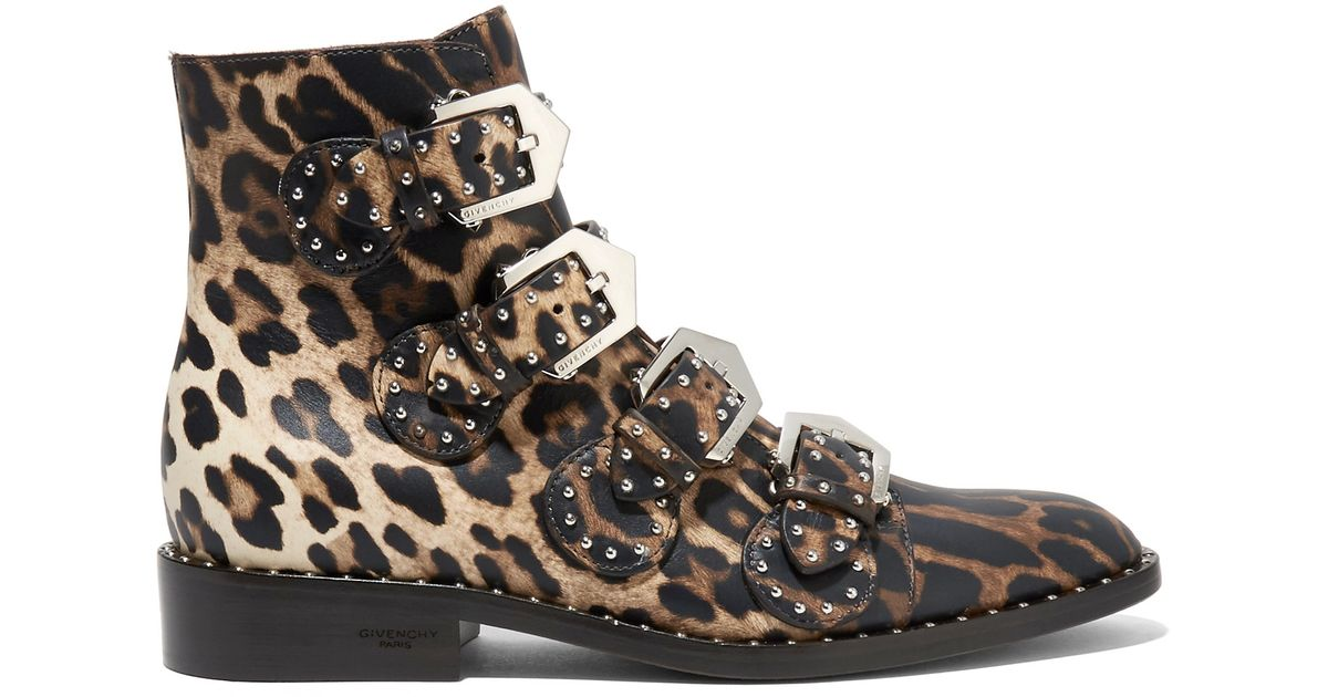 9bfda5d3aaf Lyst - Givenchy Studded Ankle Boots In Leopard-print Leather in Black