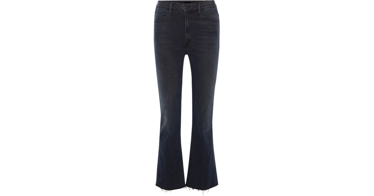 Hustler Cropped Frayed High-rise Flared Jeans - Dark denim Mother GvSah