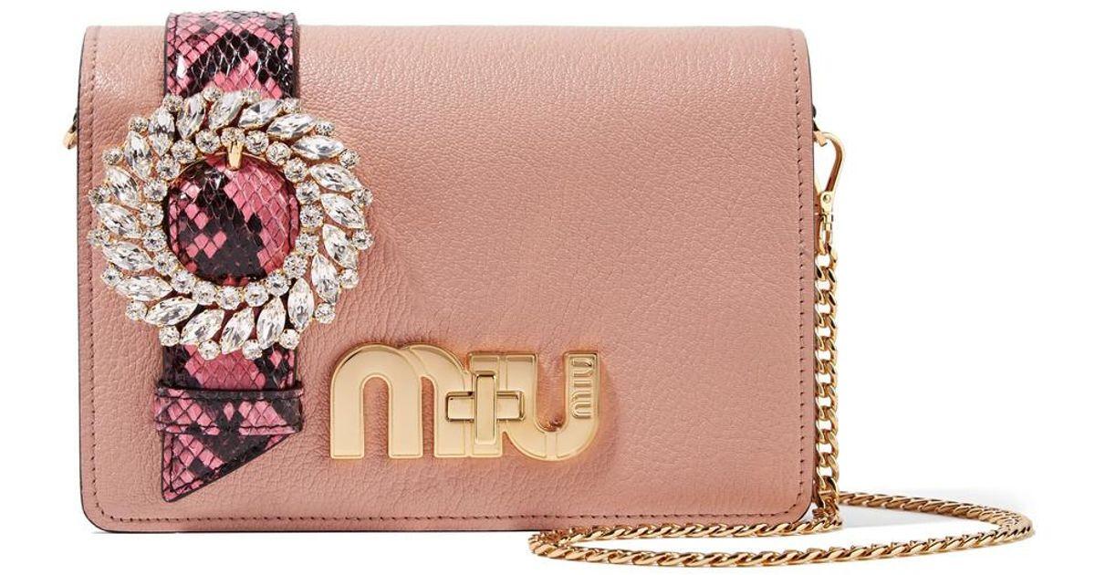 ae7d1f6495db Lyst - Miu Miu My Miu Embellished Watersnake-trimmed Textured-leather  Shoulder Bag in Pink