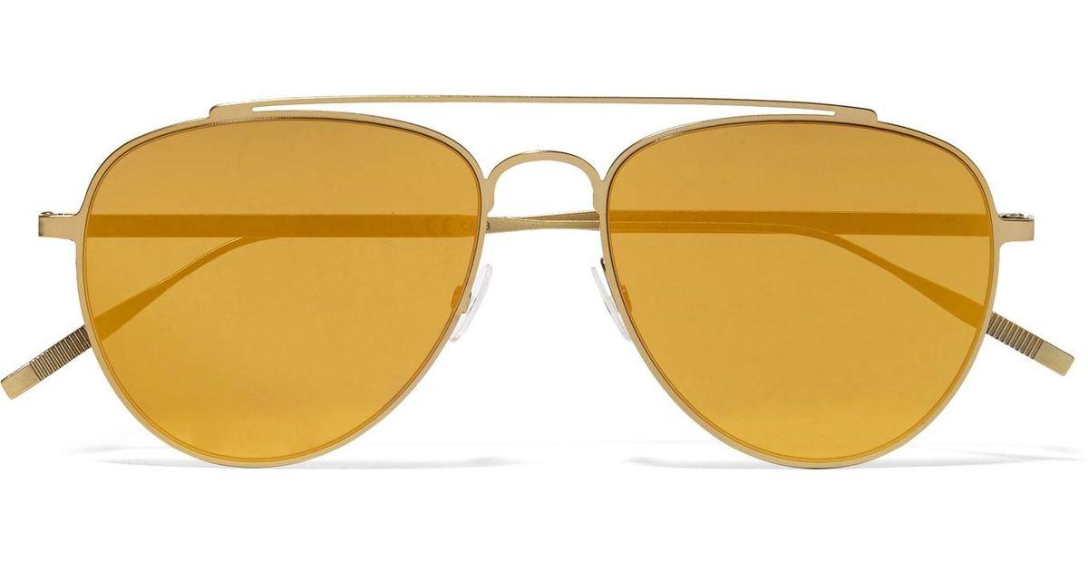 Women's Yellow Aviator-style Gold-tone Mirrored Sunglasses