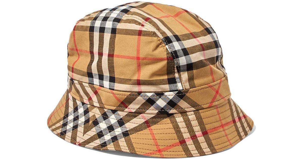 Lyst - Burberry Checked Cotton-canvas Bucket Hat in Brown edd34b2c12