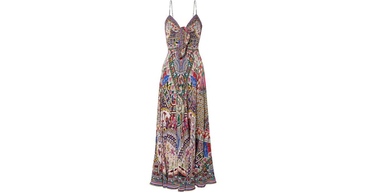 The Long Way Home Embellished Printed Silk Crepe De Chine Maxi Dress - Jade Camilla hzMesj