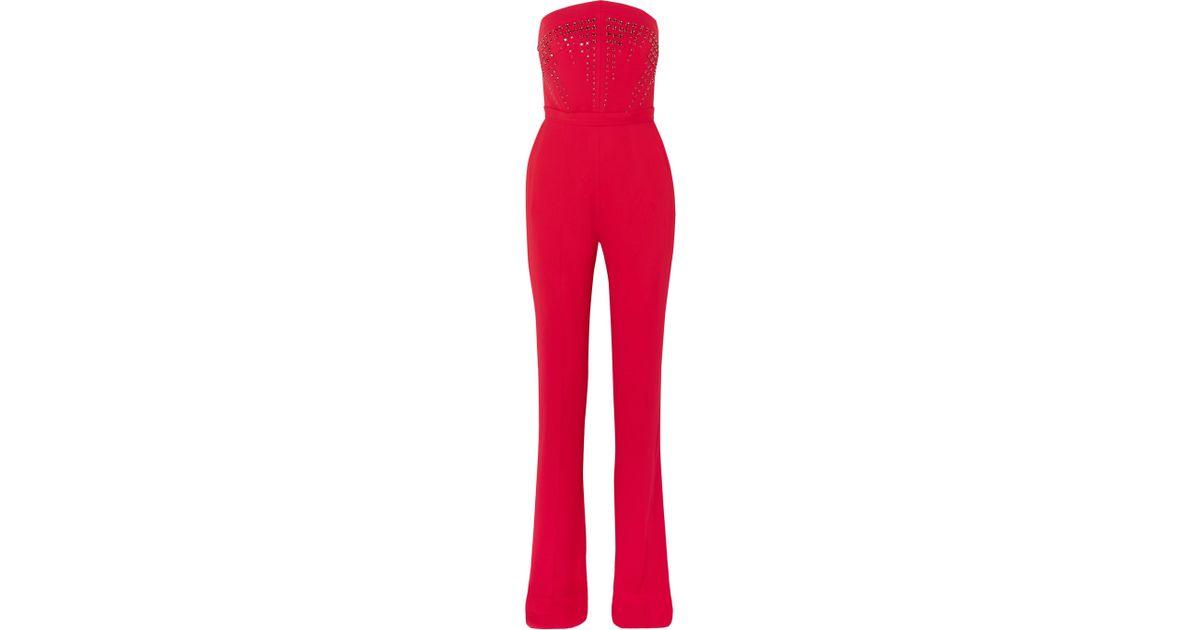 8e8541c538b6 Lyst - Antonio Berardi Strapless Crystal-embellished Crepe Jumpsuit in Red