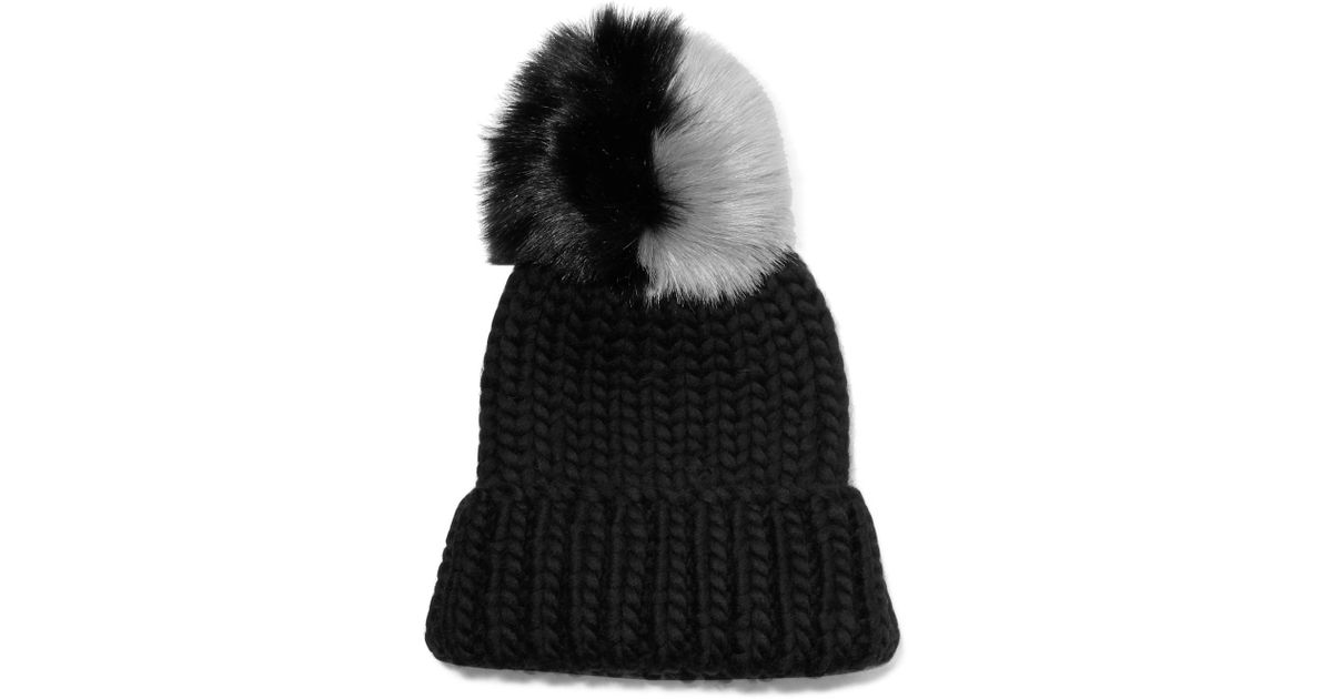 4ad18fa938e02 Eugenia Kim Rain Faux Fur-trimmed Chunky-knit Wool Beanie in Black - Lyst