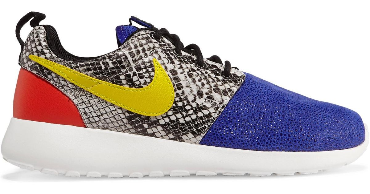 the best attitude 57859 ba553 Nike Roshe One Stingray And Snake-effect Leather Sneakers in Blue - Lyst