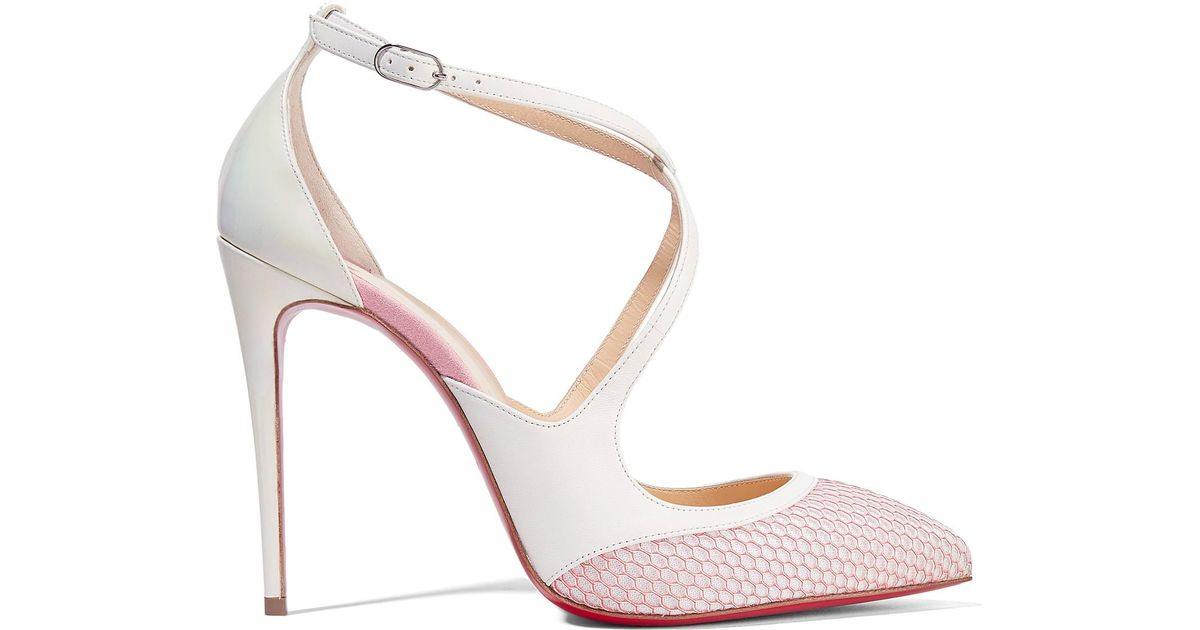 Women's White Crissos Suede-trimmed Fishnet And Patent-leather Pumps